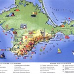 Туристическая карта Крыма на которой отмечены все туристические центры. Для ценителей активного отдыха