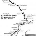 Карта дороги Семферополь - Алушта - Ялта