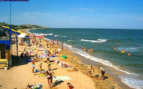 Веб камера на городском пляже Щелкино онлайн