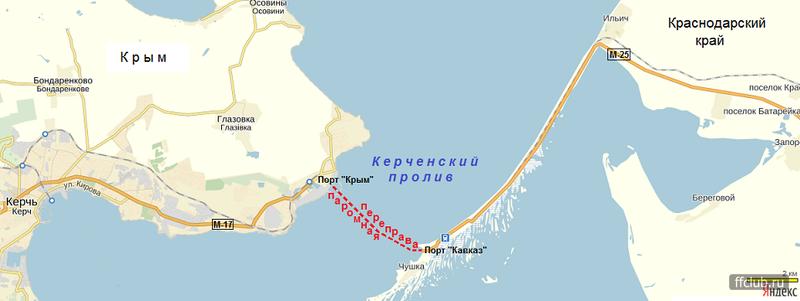 Карта маршрута из Порта-Кавказ