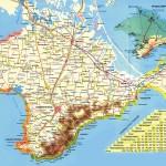 Карта Крыма с условным обозначением побережий. Транспортная система Крымского полуострова