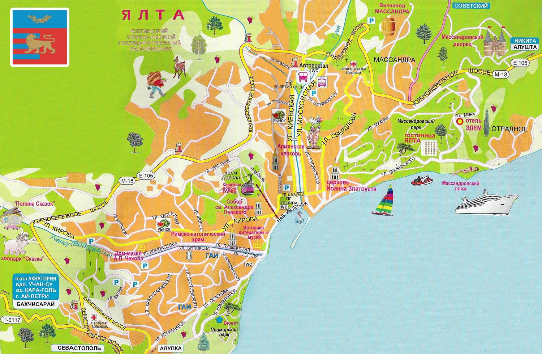 Карта ялты схема