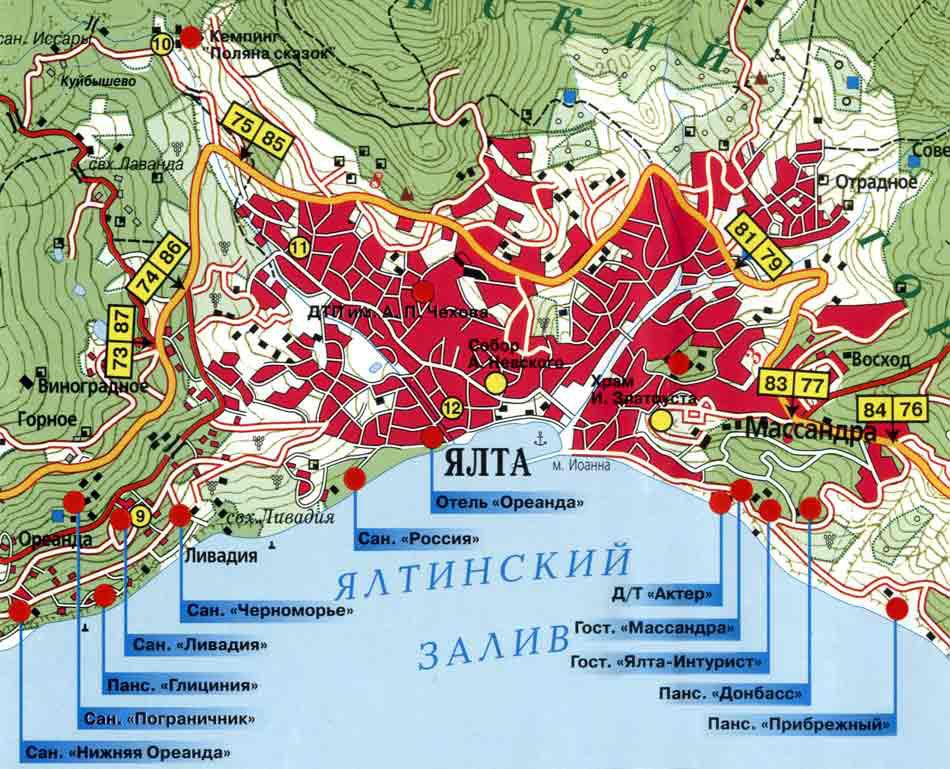 Санатории Ялты на карте