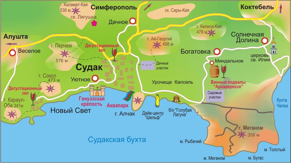 Карта Судакского района