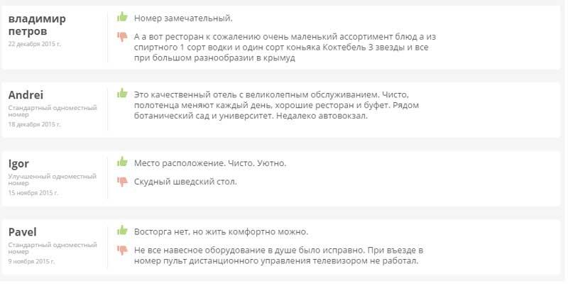 отзывы Гостиница Таврия в Симферополе